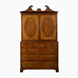 18th Century George III Mahogany Cabinet on Chest