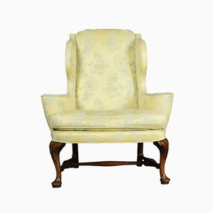 Antique Queen Anne Style Wing Armchair