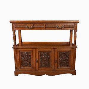 Buffet vittoriano in legno di quercia scolpito, fine XIX escolo