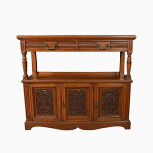Victorian Oak-Carved Buffet, 1890s