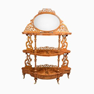Kleines viktorianisches Regal aus Nusswurzelholz, 1870er