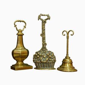 Victorian Brass Door Stops, 1880s, Set of 3
