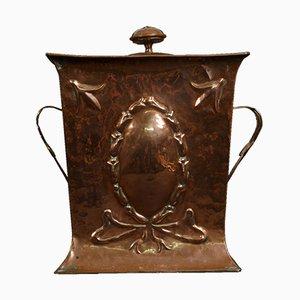 Arts and Crafts Kohlenbehälter aus Kupfer, 1900er