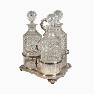 Triple Bottle Set Tantalus, 1890s