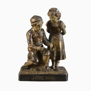 Terracotta Figure of Two Children by Fritz Kochendörfer, 1910s