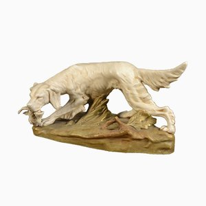 Setter Hunting Dog Sculpture from Royal Dux, 1910s