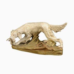 Setter Jagdhund Skulptur von Royal Dux, 1910er
