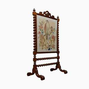 19th Century Rosewood Needlework Paneled Fire Screen