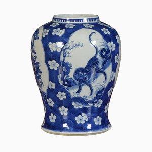 Chinesische Vase in Blau & Weiß, spätes 19. Jh.