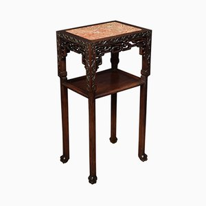 19th Century Chinese Marble & Hardwood Stand