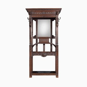 Antique Gothic Carved Oak Hall Stand
