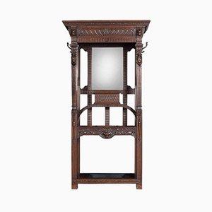 Mueble de recibidor gótico antiguo de roble tallado