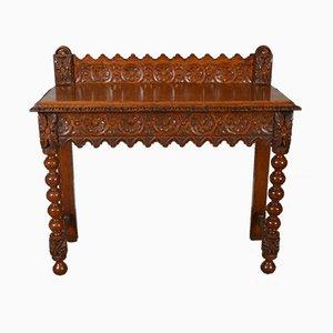Tavolo da ingresso in quercia intagliata, fine XIX secolo