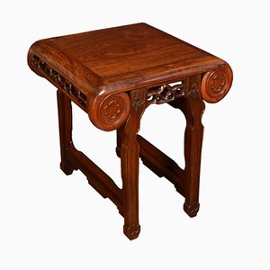 Chinese Hardwood Side Table or Stool, 1900s