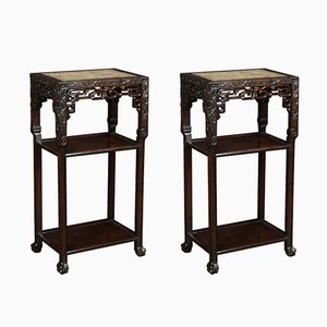 Antique Chinese Rosewood and Marble Side Tables, Set of 2