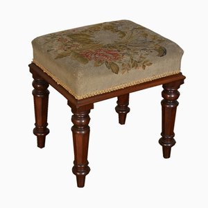 Antique William IV Mahogany & Needlepoint Stool