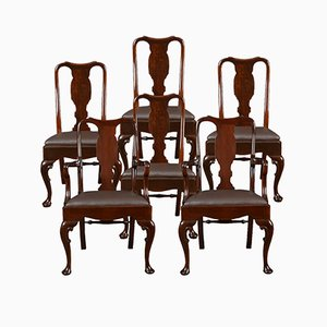 Antique Queen Anne Style High Back Dining Chairs, Set of 6