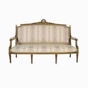French Louis XVI Style Giltwood Three Seater Settee