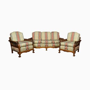 Set of Walnut Bergere Sofa and Armchairs