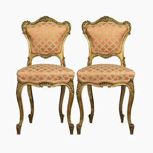Gilt Wood Side Chairs, Set of 2