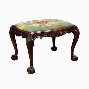 Chippendale style mahogany needlepoint stool