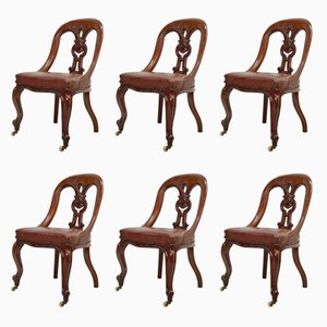 Mahogany Dining Chairs, 1870s, Set of 6