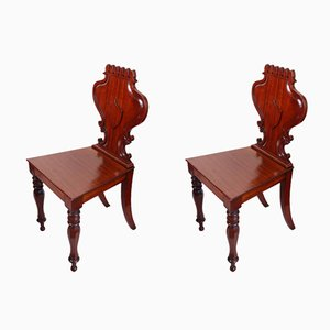 Mahogany Shield-Back Hall Chairs,1880s, Set of 2