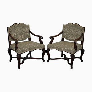 Northern Italian Walnut Armchairs, 1860s, Set of 2