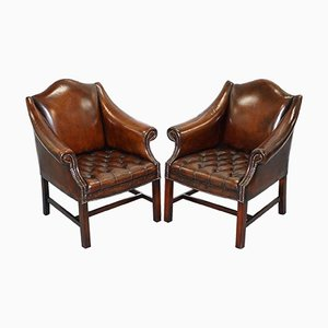 Vintage Chesterfield Whiskey Brown Leather Club Armchairs, Set of 2
