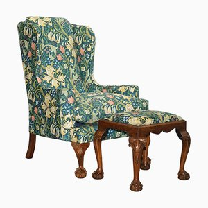 Antique Georgian Irish Style Claw & Ball Walnut Wingback Armchair & Stool from William Morris