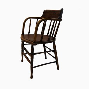 Antique English Oak Captains Chair, 1890s