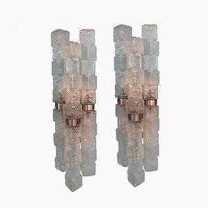 Lampade da parete a forma di cubetti di ghiaccio di Mazzega, anni '60, set di 2