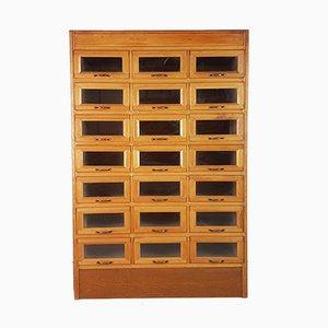 Mueble de mercería vintage de roble con 21 cajones, años 30