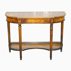 Antique Burr Walnut Console Table with Single Drawers by Theodore Alexander