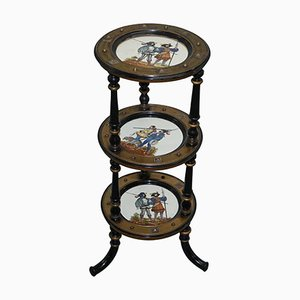 Antique Three-Tired Display Stand with Hand-Painted Plates