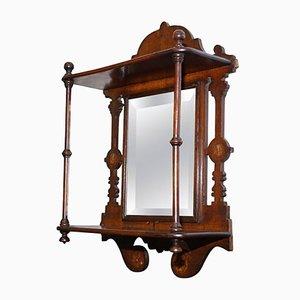 Antique Victorian Shaving Mirror with Mahogany Frame
