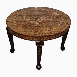 Table de Salle à Manger Antique Anglo-Indienne en Séquoia avec Éléphant Sculpté