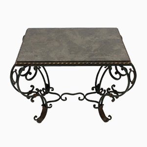 Vintage French Wrought Iron & Blue Limestone Table