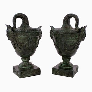 Antique Bronze Tazzas, 1900s, Set of 2