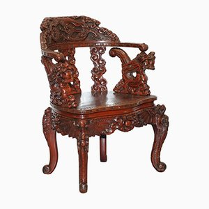 Chinese Qing Dynasty Carved Redwood Dragon and Lion Foo Dogs Armchair, 1870s