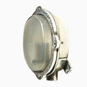 Applique ovale vintage in vetro smerigliato