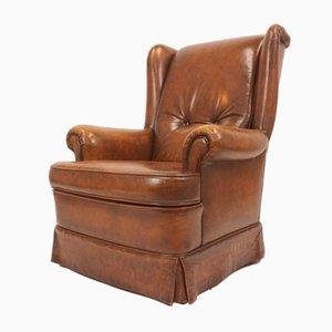 Vintage Leather Armchair, 1940s