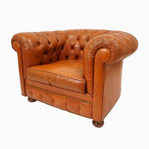 Vintage Leather Chesterfield Armchair, 1940s
