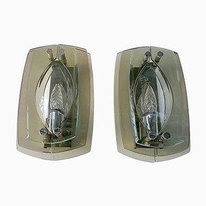 Braune Wandlampen von Veca, 1960er, 2er Set
