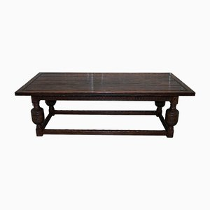 Large Antique English Oak Jacobean Style Dining Table