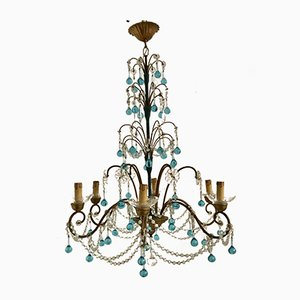 Large Vintage Crystal Beaded Macaroni Chandelier