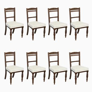 Victorian Mahogany Dining Chairs with Calico Upholstery from Maple & Co., Set of 8