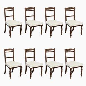 Viktorianische Esszimmerstühle mit Gestell aus Mahagoni & Bezug aus Kattun von Maple & Co., 8er Set