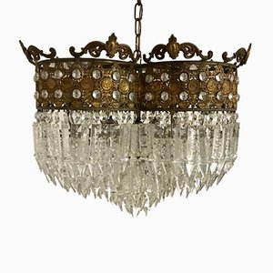 Großer imperialer Vintage Kronleuchter mit Anhängern aus Kristallglas, 1930er