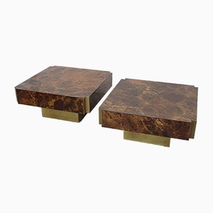 Brass & Lacquer Side Tables from Maison Jansen, 1970s, Set of 2